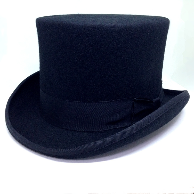 75aec131646f2 13.5cm Height Black Red Gray Wool Top Hat Men Women Chapeau Fedora Magician  Felt Vintage Party Church Hats S M L XL-in Fedoras from Men s Clothing ...