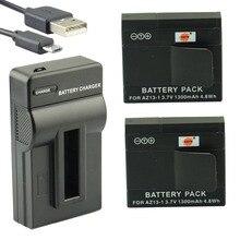 DSTE 2 pcs Bateria Li-ion + carregador usb para xiaomi yi UDC162 AZ13-1 AZ13-1 Millet Câmera de Esportes
