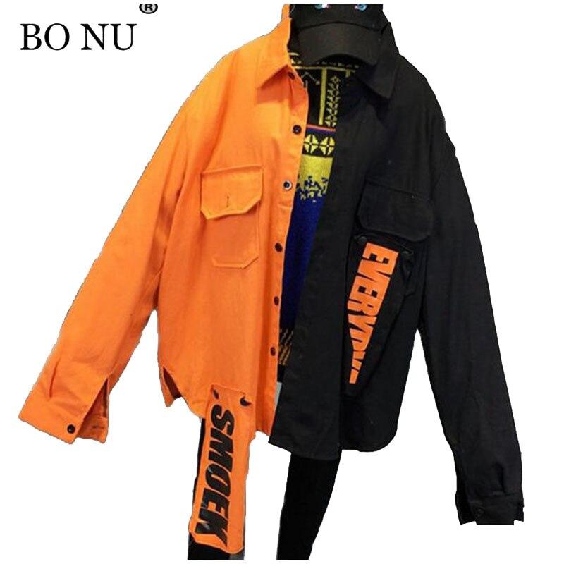 BONU Unisex BF Harajuku Spring Bomber Jacket Loosen Splicing Coats Letter Patch Designs Jacket Women Oversize Basic Coat Jacket