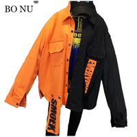 BONU Unisex BF Harajuku Spring Bomber Jacket Loosen Splicing Coats Letter Patch Designs Jacket Women Oversize Basic Coat Jacket
