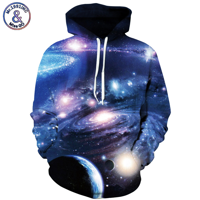 Mr.1991INC UniverseStar Sky Hot digital Print Sweatshirts With Pocket Hooded Pullovers Men Sweatshirt Hoodie Hoodies S-3XL M107