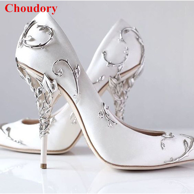 Ornate Filigree Leaf White Women Wedding Shoes Chic Satin Stiletto Heels Low Cut Vamp Pointed