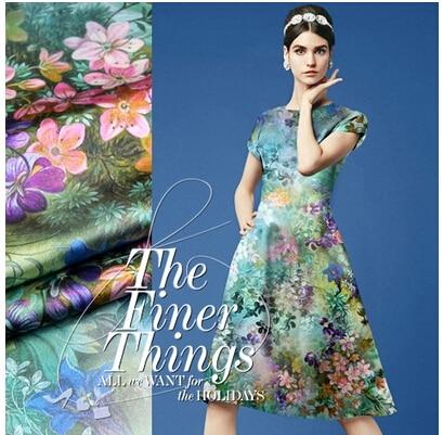 Zware digitale inkjet printing zijde zijde stretch satijn zijde kleding materiaal Blauw Zuurstof Tuin