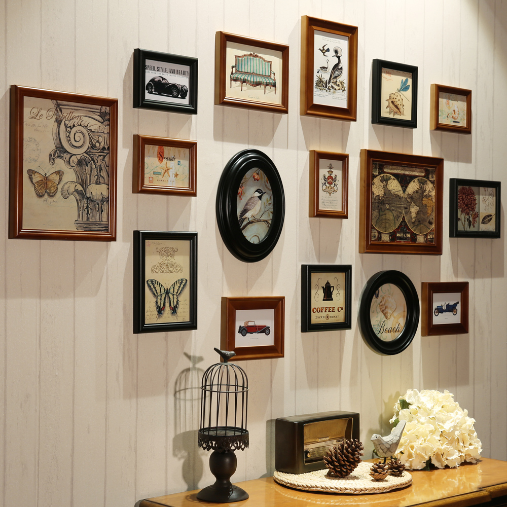 16 Piecesset Wooden Photo Frame Wall Decor For Home Decorative 16 Piecesset  Wooden Photo Frame Wall