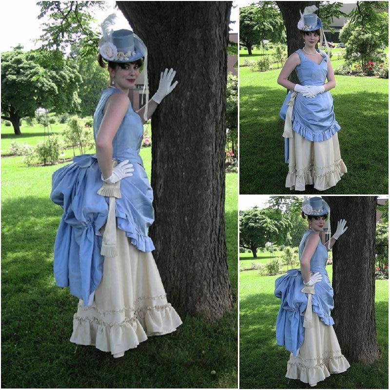 Bersejarah! Pakaian buatan Blue Halloween Gothic Cosplay Pakaian - Kostum karnival