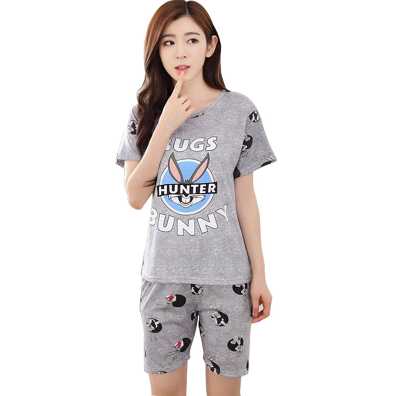 New Women Pajamas Sets Summer Short Sleeve Thin Cartoon Print Cute Loose Sleepwear Girl pijamas Mujer Leisure Nightgown Women