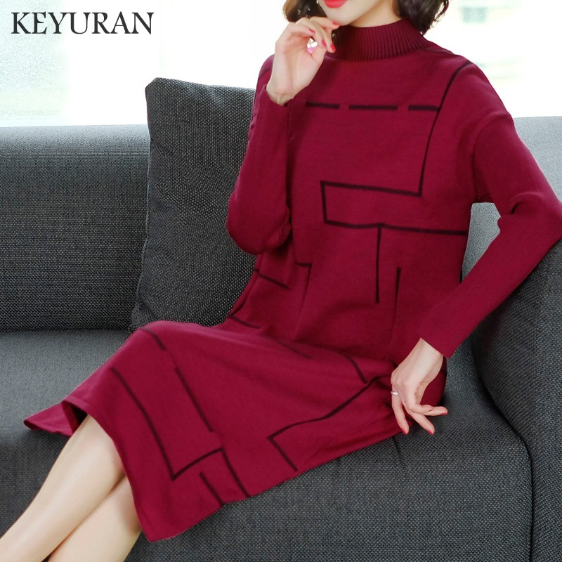 New Plus size Red Autumn Winter Knitted Dresses Women Fashion Loose Sweater Dress Female Casual Long Sleeve Party Dress Vestidos