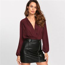 Sheinside Pleated Surplice Wrap Front Bishop Sleeve Blouse Bodysuit Women  OL Work Burgundy Deep V Neck e6b3c3088