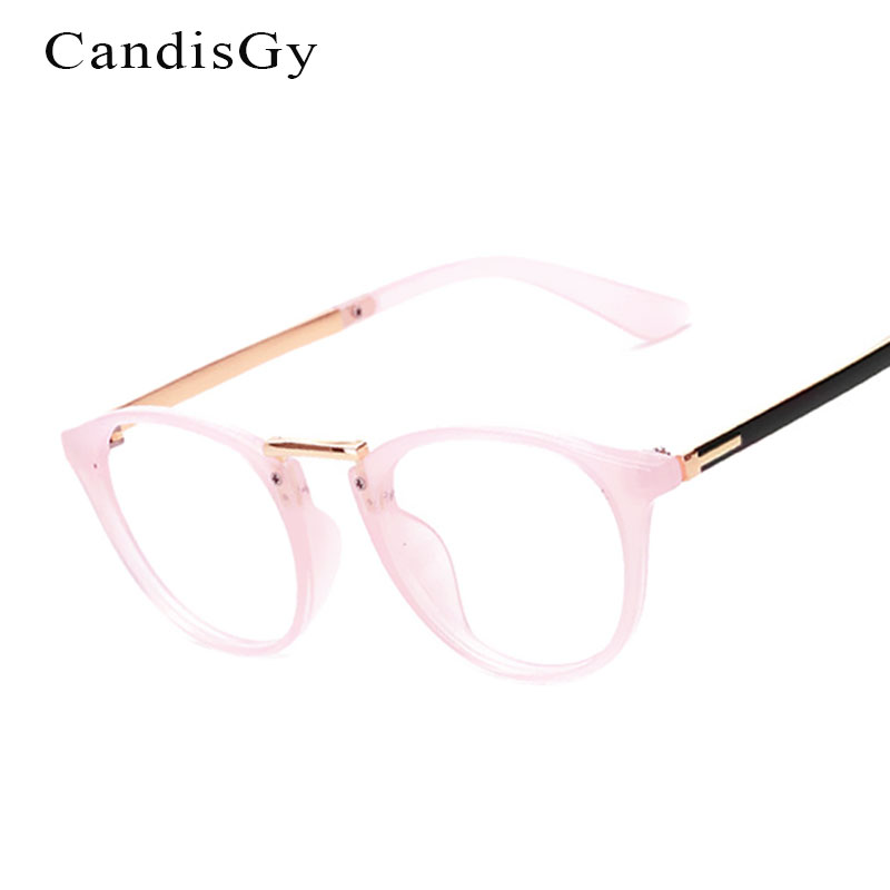 vintage pink glasses frame brand designer men women oval metal optics classic eyeglasses frames clear transparent