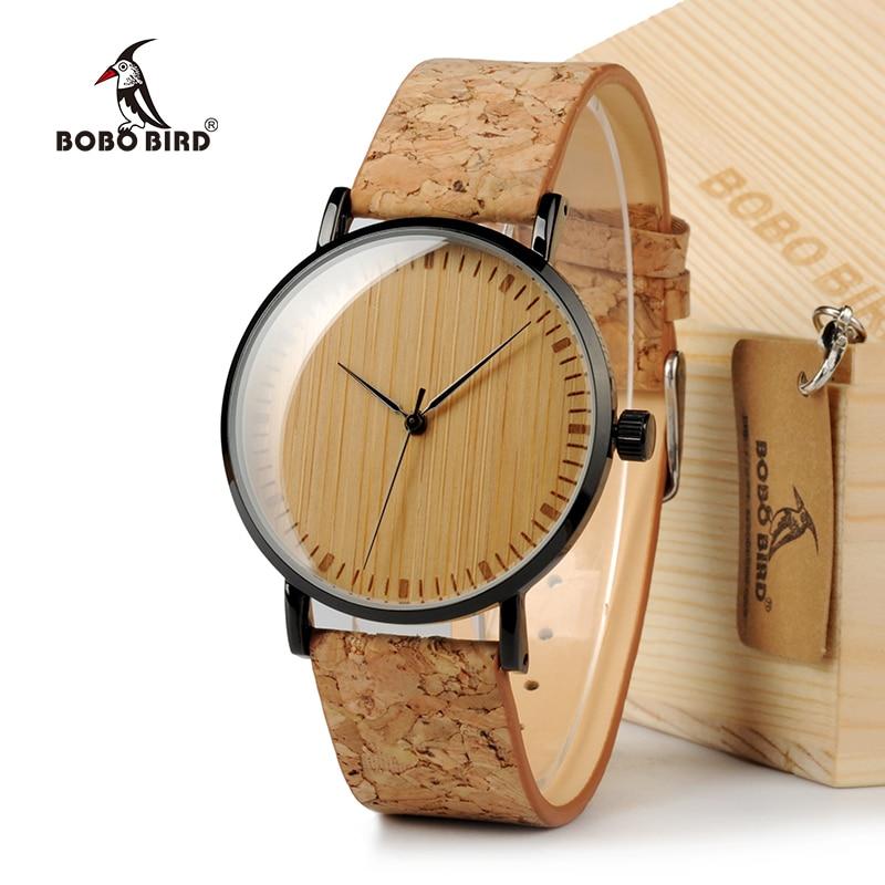 BOBO VOGEL E19 Ultra Dünne Bambus Holz Uhren Männer Frauen Einfache Quarz Uhren Kork Band uhren para mujer