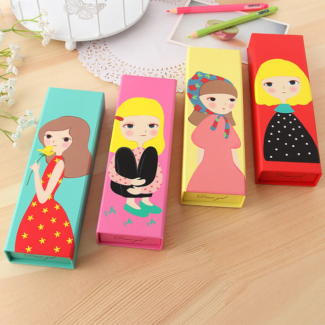 Noverty kawaii korea stationery cute paper pencil case for for Creative ideas with paper