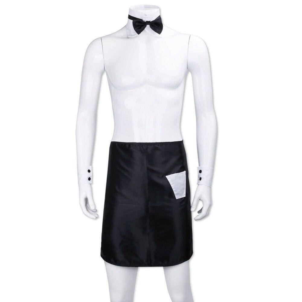 Gekwalificeerd Sexy Mannelijke Backless Bow Tie Kraag Manchetten Schorten Stripper Set Butler Ober Fantasy Cosplay Kostuum Jurk Up Valentines Outfit