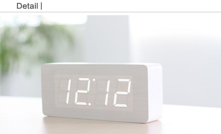 Wekker Met Licht : Rechteckigen holz digitaler wecker desktop led temperatur zeit weiß