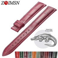 ZLIMSN Crocodile Genuine Leather Watchbands 12mm 24mm Watch Band Watches Accessories Suitable for Omega Longines Watch Strap