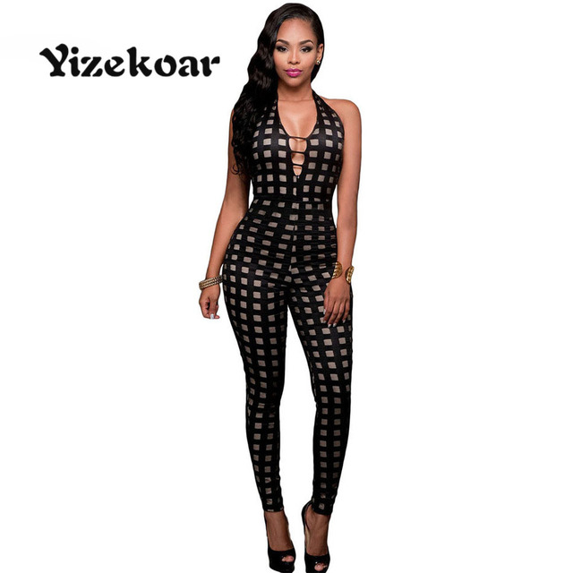 08028fe4eb40 Yizekoar 2018 Summe Sexy Bodycon Jumpsuit Black Nude Illusion V Neck  Checkered Long Overalls for Women