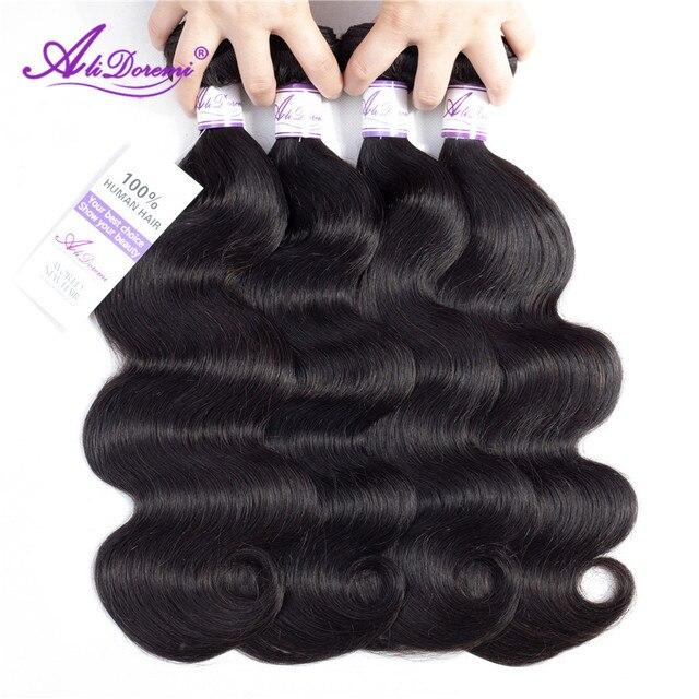 Paquetes de cabello brasileño onda del cuerpo 100% cabello humano tejido Color Natural Alidoremi extensión de cabello no Remy 8-30 pulgadas puede Buy1/3/4 piezas