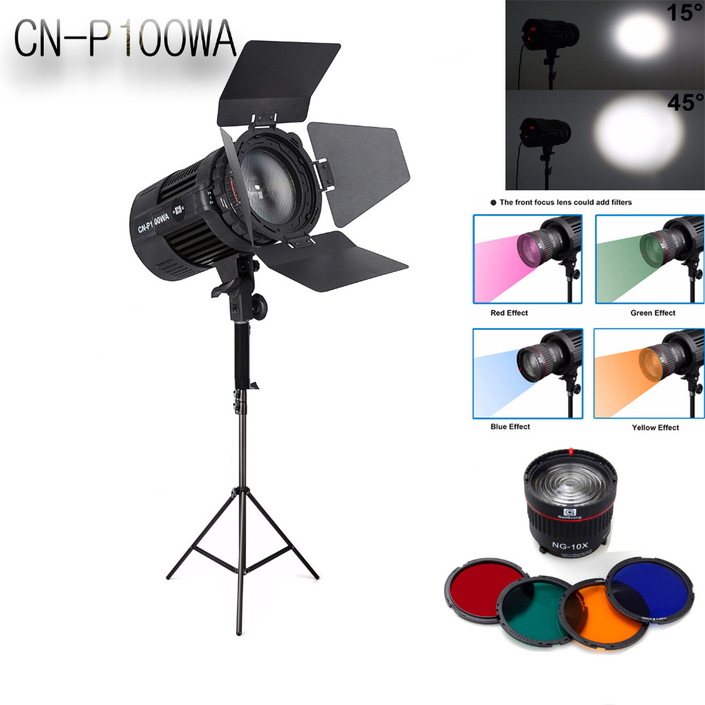 Nanguang CN-P100WA 100W professional Radio wireless COB LED studio light spotlight Light Storm & CN-10X Focusing Lens & Tripod nanguang cn r640 cn r640 photography video studio 640 led continuous ring light 5600k day lighting led video light with tripod