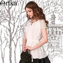 Artka  ретро женская летняя одежда круглым воротником с коротким рукавом плиссированная широкая белая шифоновая высококачественная элегантная блузка SA10745X