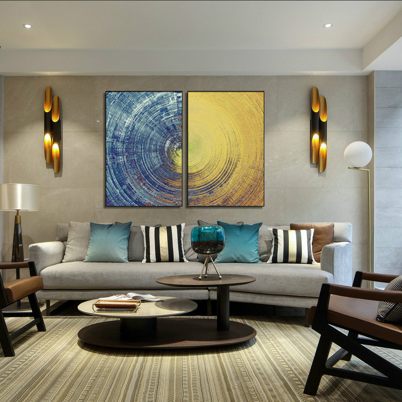 Painting Two Walls In A Room: 2 Pieces Abstract Poster Wall Art Canvas Painting Nordic