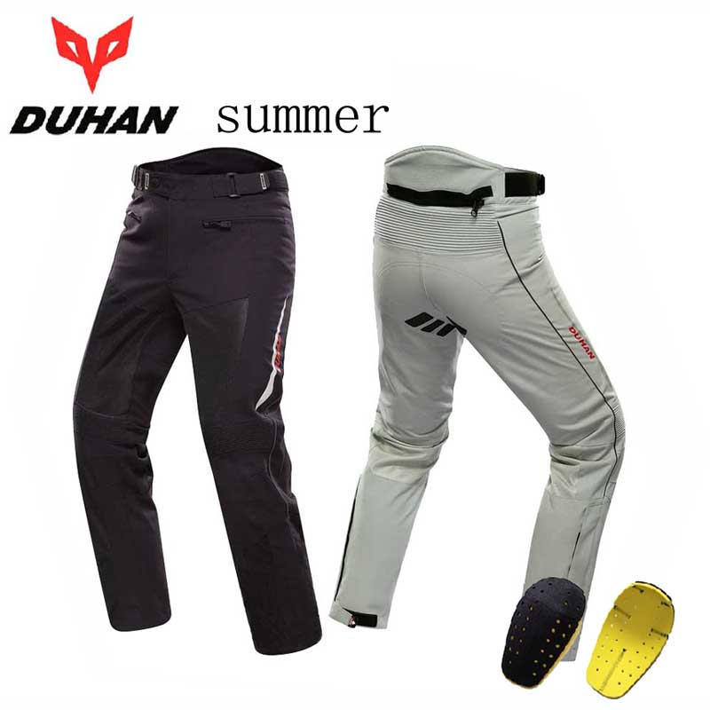 Summer men's DUHAN DK-016 motorcycle motocross pants with protection,moto equipamento trousers clothing gray black M L XL XXL