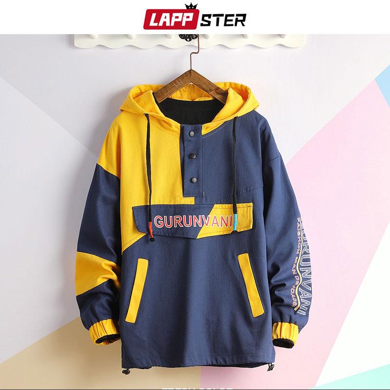 LAPPSTER Men Japanese Streetwear Hoodies Color Block 2020 Mens Hip Hop Harajuku Hooded Sweatshirts Male Korean Fashion Hoodies