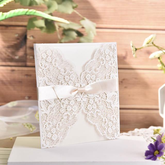10pc Lot White Hollow Laser Cut Wedding Invitations Elegant Engagement Wedding Invitation Card With Ribbon Free Envelope Seals