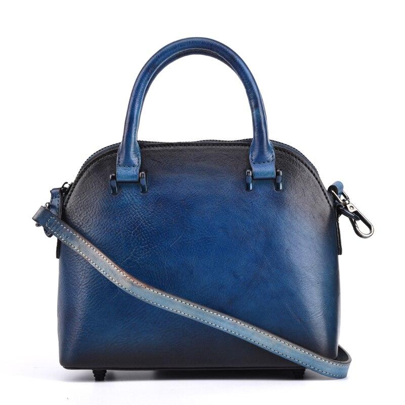 все цены на Mixing Color Designer Genuine Leather Dark Blue Women's Small Shell Purse Ladies Handbag Vintage Female Crossbody Shoulder Bag онлайн