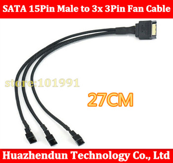 300pcs Free shipping via DHL/EMS  High Quality New SATA 15Pin Male to 3x 3Pin Fan Cable  27cm Free shipping