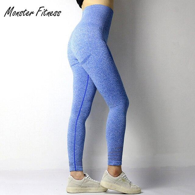 06139395b 2018 Super Stretchy Gym Tights Energy Seamless Tummy Control Yoga Pants  High Waist Sport Leggings Light Blue Running Pants Women