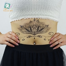 BC-010/Latest Black Mandala Tattoo Waterproof Body Fresh Temporary Sleeve Flower Art Tattoo Stickers Fake Fashion Tattoos chest