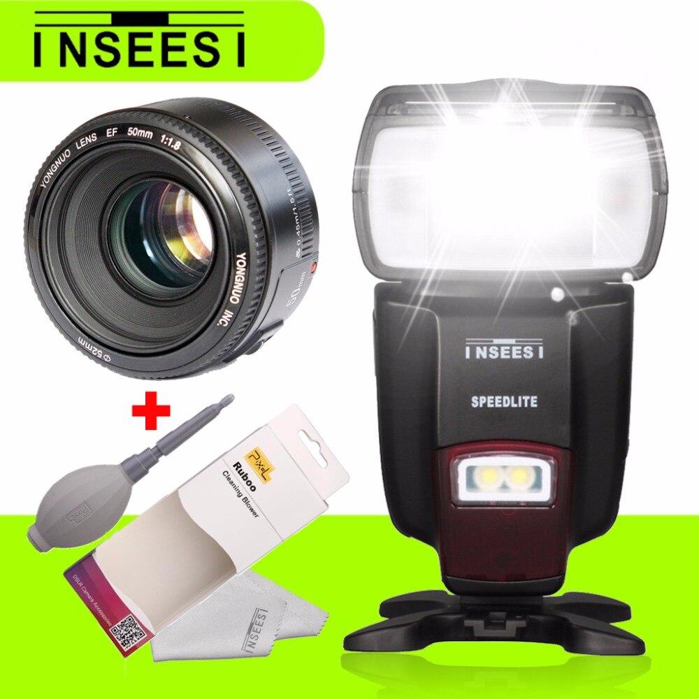 YONGNUO YN50MM F1.8 EF/AF Aperture Auto Focus Lens For Canon DSLR Cameras & INSEESI IN 560IV Wireless Universal Flash Speedlite genuine meike mk950 flash speedlite speedlight w 2 0 lcd display for canon dslr 4xaa