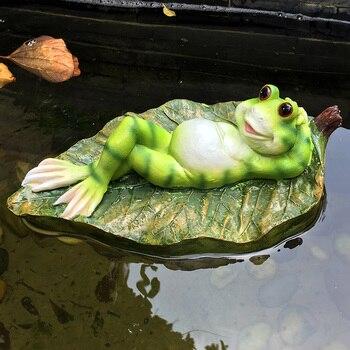 Résine Créative Mignon Flottant Grenouilles Statue En Plein Air Jardin étang Décoratif Animal Sculpture Pour Maison Bureau Jardin Décor Drôle Cadeau