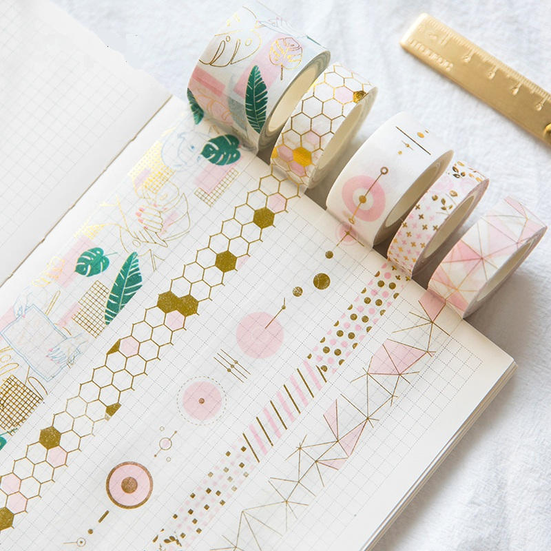Fresh Pink Gold Foil Washi Tape Set Diy Decorative Scrapbooking Sticker Planner Masking Adhesive Tape Label Drop Shipping