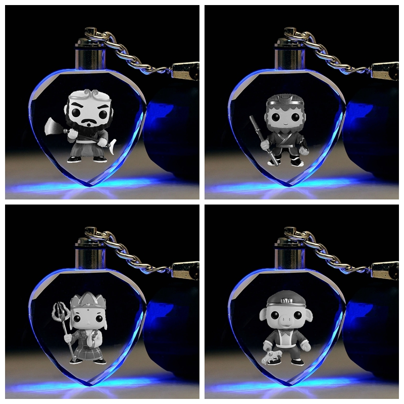 Key-Toys Action-Figures Anime Gifts Cartoon-Light The-West Chain Decorative LED Heart-Shaped
