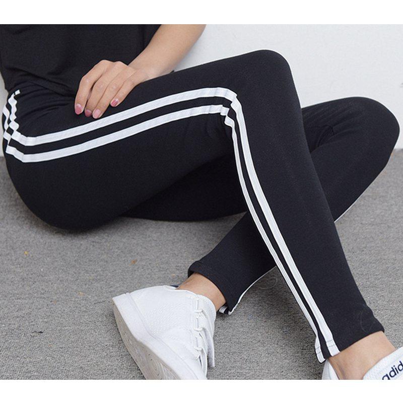 Women Plus Size 50 XXL Slim Pencil Leggings Side Stripe Modal Spring Leggings Lady Summer Knee Length Fitted Hot Pant Trousers