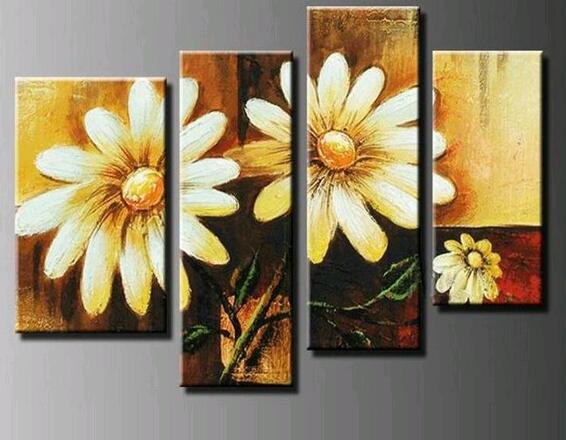 4 Panel Large Sunflower Wall Decor Flower Oil Painting On Canvas Pictures