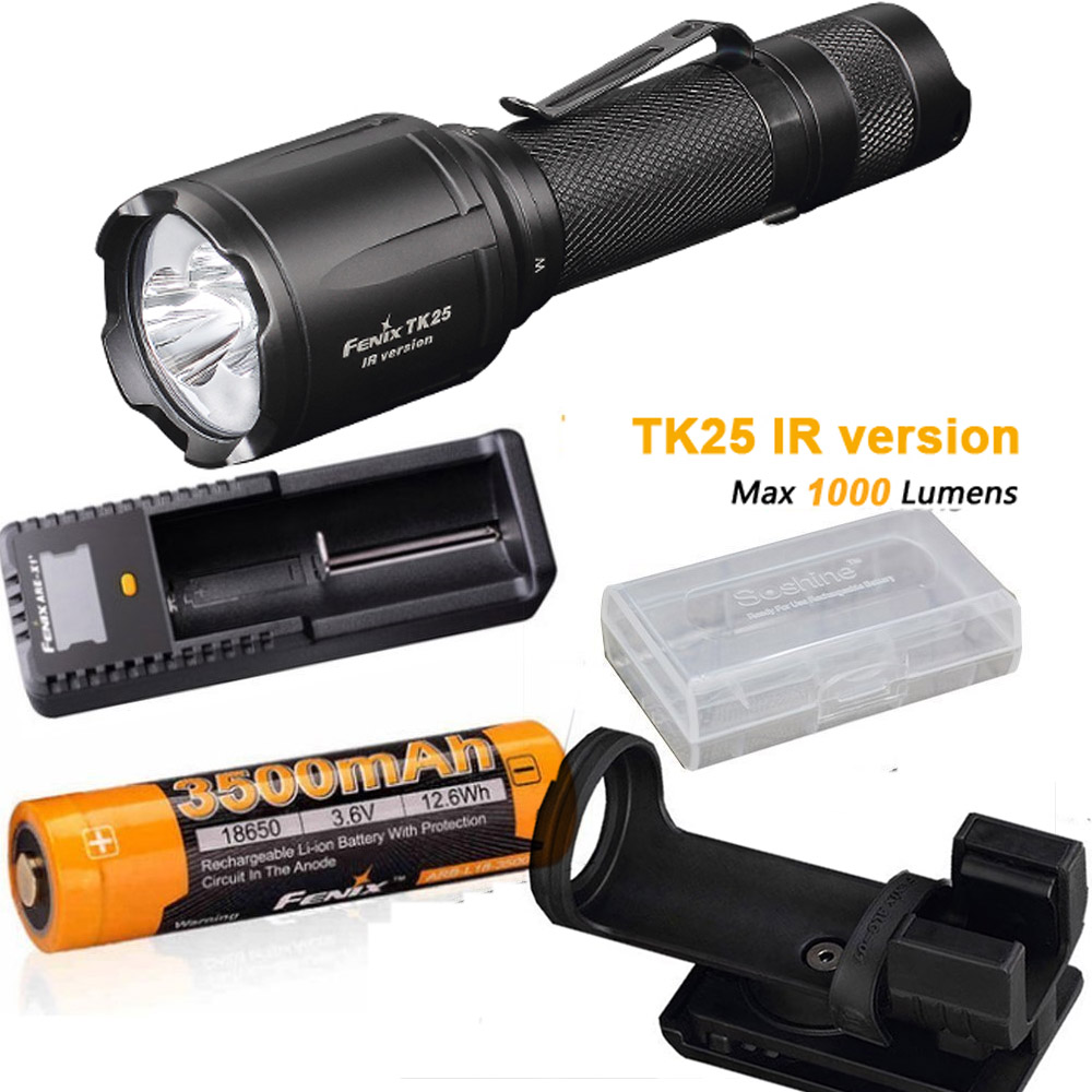 Fenix TK25 IR (TK25IR) 1000 Lumen LED 3000mW 850nm Infrared Tactical Flashlight with ARB-L18-3500 battery, ARE-X1+ charger