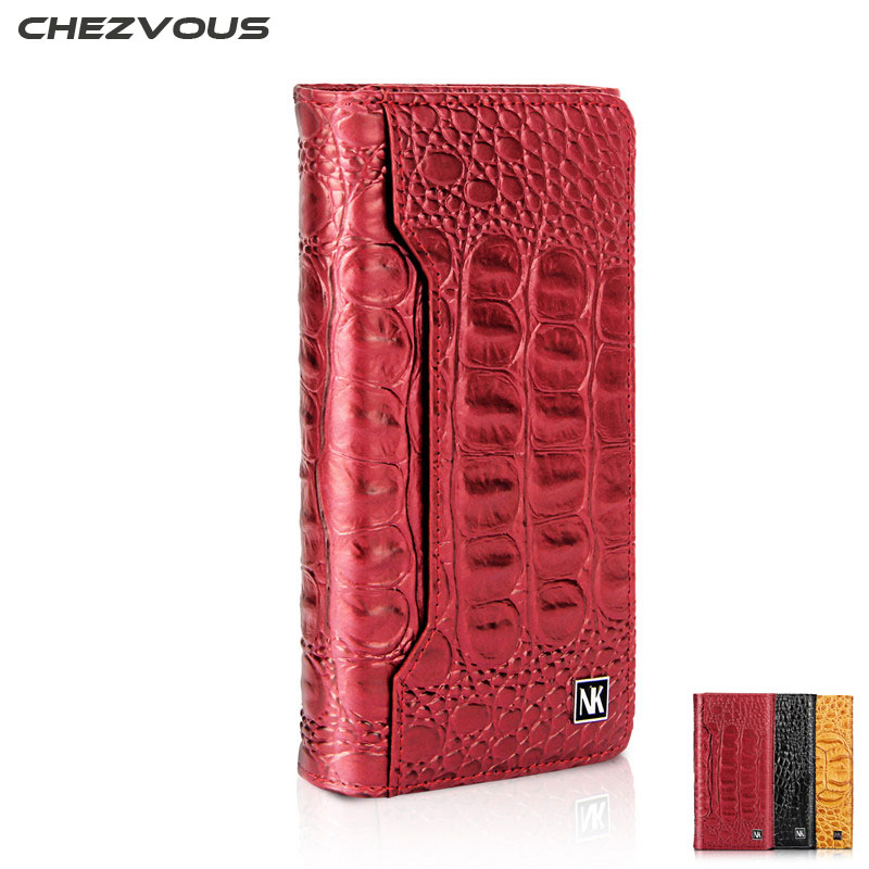 CHEZVOUS Crocodile Pattern Case for iPhone X 8 7 Genuine Cowhide Leather Wallet Card Slot Bag Case for iPhone 7 8plus Flip Cover