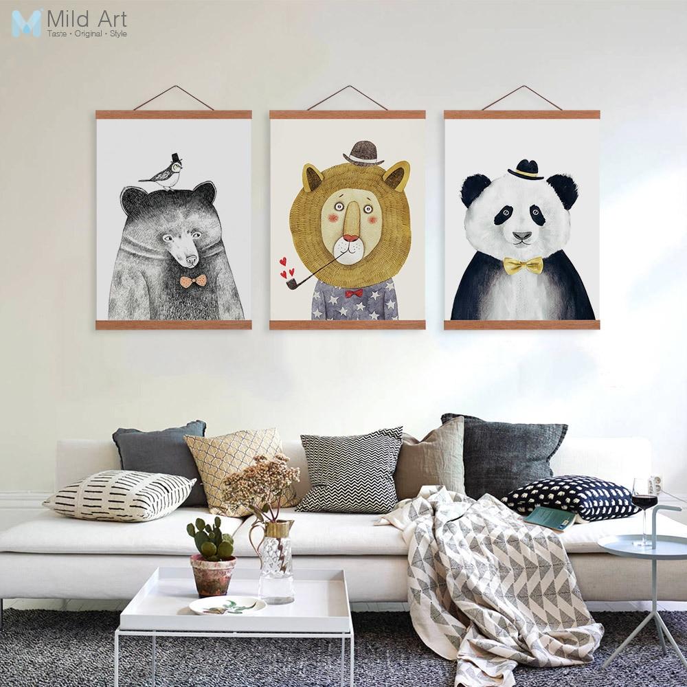 Nórdico Moderno Bonito Animais Urso Leão De Madeira Emoldurado Pintura Da Lona Home Kids Room Decor Wall Art Imprimir Fotos Cabide Cartaz