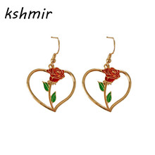 kshmir Temperament melting fashionable girl love rose flower small pure and fresh and restore ancient ways earrings earrings