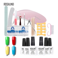 Rosalind Pure Color 10ML* 4PCS Gel Nail Polish+2PCS Base Top Coat+10PCS Manicure Smile French Sticker And Nail Tool Gel Lacquer
