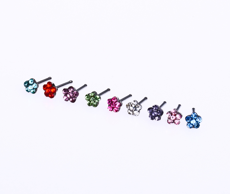 Steel Jewelry Nose Rings Body Piercing Nose Studs Ring Gems Flower