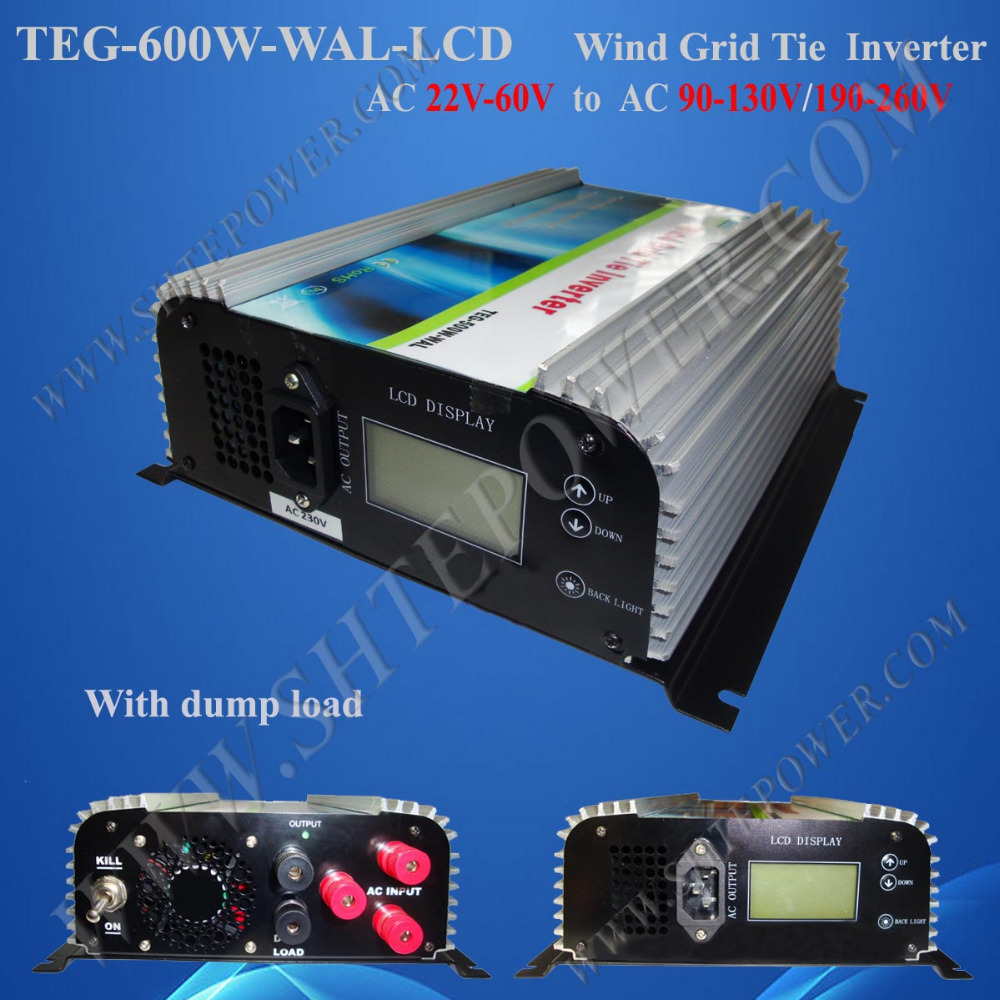 Grid Tie 600W Wind Inverter, 22-60v input to AC 100v, 110v, 120v, 50Hz or 60Hz, Pure Sine Wave Inverter new 600w on grid tie inverter 3phase ac 22 60v to ac190 240volt for wind turbine generator