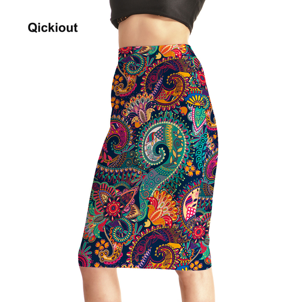 Qickitout Skirts Fitness New 2017 Fashion Women's Sexy Aztec Round Ombre Skirts High Waist Package Hip Skirt Saia Midi Plus Size