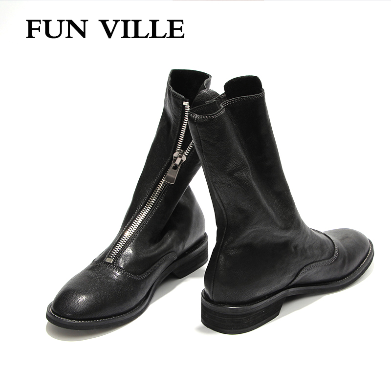 FUN VILLE 2018 New Fashion Autumn Winter Women Ankle Boots Genuine Sheepskin Martin boots Round toe Sexy Ladies Flats shoes fun ville 2018 new fashion women flats shoes genuine leather sheepskin casual shoes square heel 4cm round toe lace up size 34 43