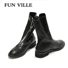 FUN VILLE 2018 New Fashion Autumn Winter Women Ankle Boots Genuine Sheepskin Martin boots Round toe Sexy Ladies Flats shoes