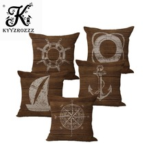 Retro Mediterranean Style Cushion Cover Anchor Boat ocean Marine Linen Throw Pillow Case 45x45cm Home Decorative Pillowcase ocean style oblique striped anchor pattern square shape flax pillowcase without pillow inner