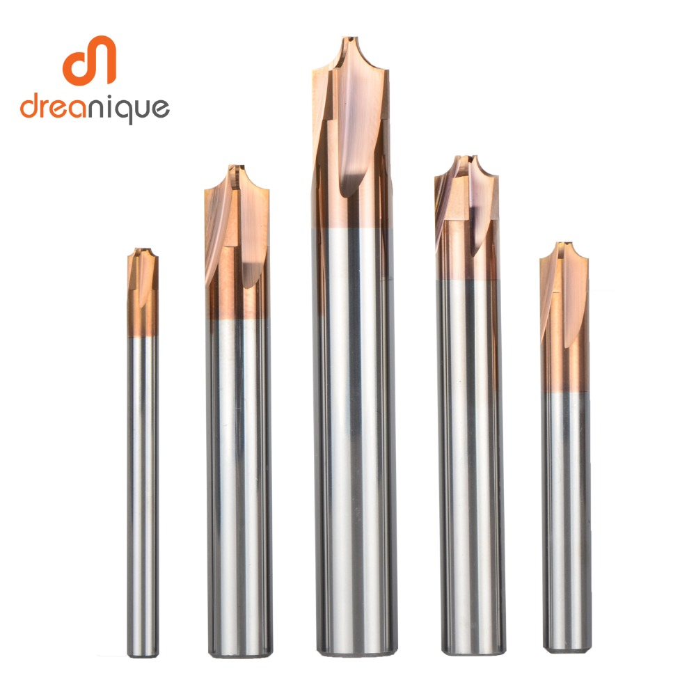 1pc solid carbide chamfer tool milling cutter 4 flute chamfer Router Bit corner rounding R0.5 -R5.0  deburring tool(China)
