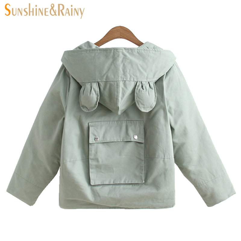 autumn winter women warm cat CAP Splice hooded jacket cotton padded elegant ladies zipper short loose warm mini bomber coats