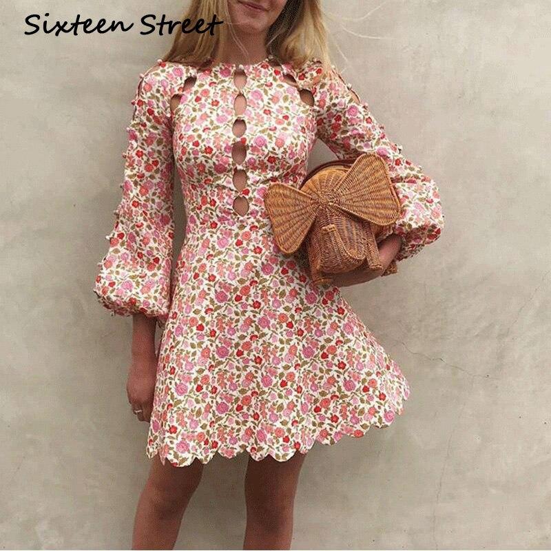 Femme vêtements floral imprimé rose à manches longues évider sexy court mini robes designer de piste automne printemps robes femme
